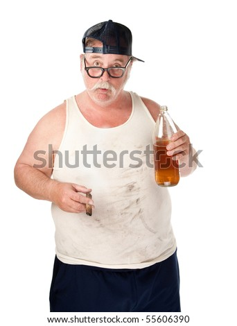 Fat man with drooping glasses a beer and cigar - stock photo