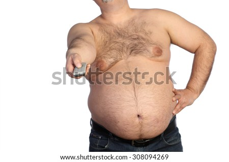 fat man with remote control  - stock photo