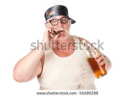 Fat man with smoking a cigar and holding a 40 oz beer - stock photo