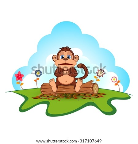 Fat monkey sitting in a wood cartoon in a garden - stock photo