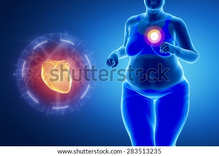 Fat obese woman with heart problem - stock photo