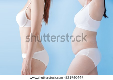 fat overweight woman and slim woman isolated on blue background, asian