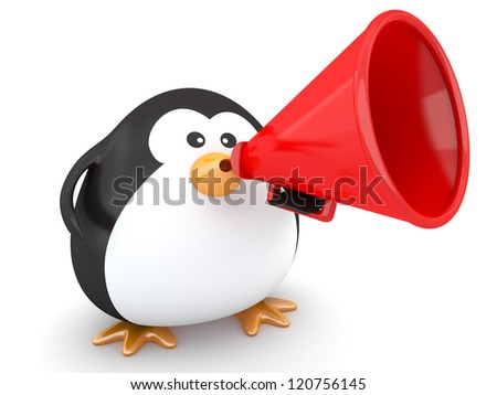 Fat penguin with a red megaphone - 3d render - stock photo