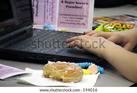 fat person using the computer - stock photo