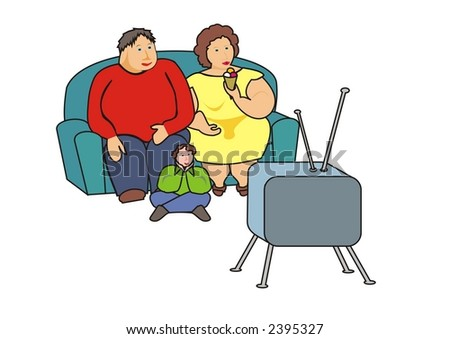 fat problem- obese family watching TV