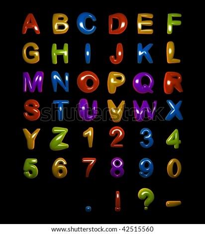 Fat Shiny Alphabet on Black Background (more alphabets in my portfolio) - stock photo