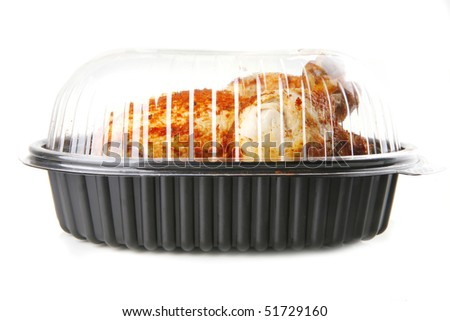 fat spiced grilled chicken on white background - stock photo