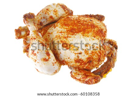 fat spiced grilled chicken on white background
