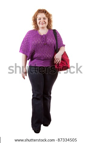fat ugly woman with bag. Isolated over white background