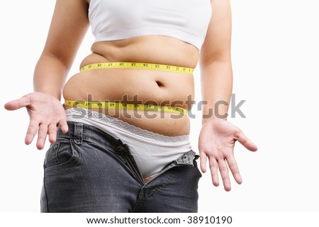 Fat woman give up wearing her tight jeans, a concept to start diet - stock photo