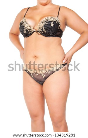 fat woman isolated on white - stock photo