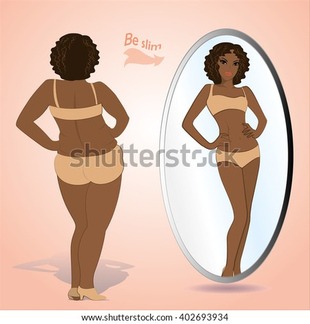 black fat naked girl in mirror