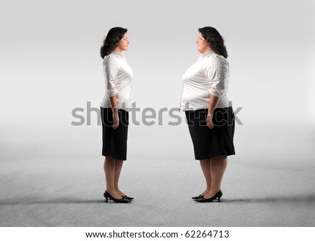 Fat woman standing in front of her thinner clone - stock photo