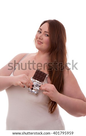 Fat woman with chocolate on her hands