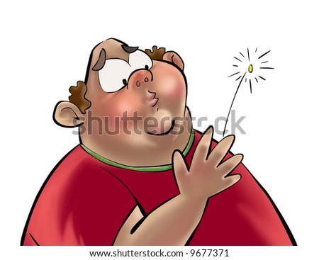 Fat yong man in a heart-attack - stock photo