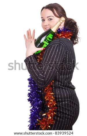 fat young woman with green bottle of champagne - stock photo