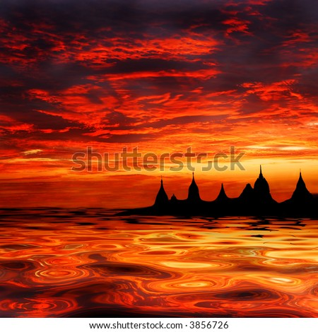 fata morgana of asian temples at sunset on the waterfront or oasis - stock photo