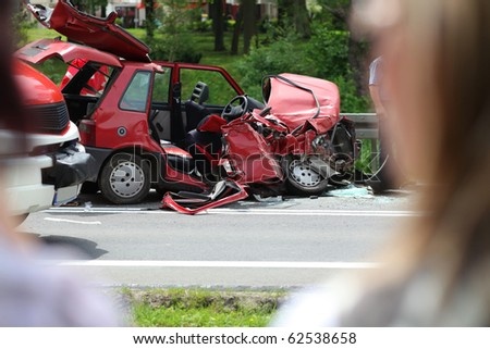 fatal automobile accident on road, destroyed in a crash - stock photo