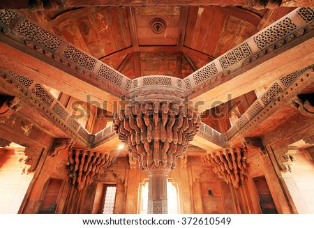 Fatehpur Sikri, India, built by the great Mughal emperor, Akbar beginning in 1570 - stock photo