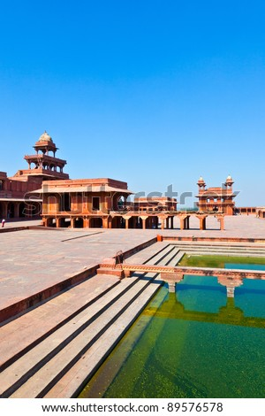 Fatehpur Sikri, India. It is a city in Agra district in India. It was built by the great Mughal emperor, Akbar beginning in 1570. - stock photo