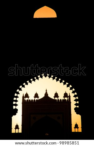 Fatehpur Sikri Mosque, India, built by the great Mughal emperor, Akbar beginning in 1570 - stock photo