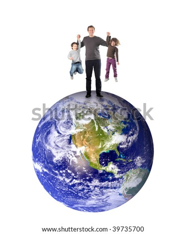 father an kids standing on planet earth and having fun - stock photo