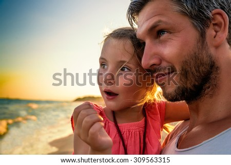 father and child explaining the world - stock photo