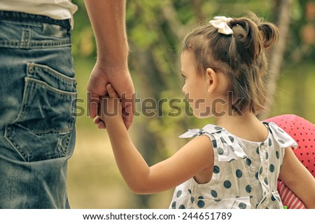 Father and child , vintage summer image  - stock photo