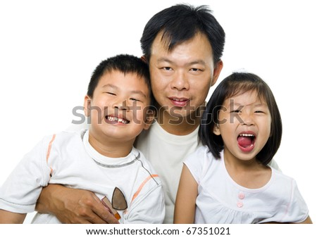Father and children. Asian father and children on white background. - stock photo