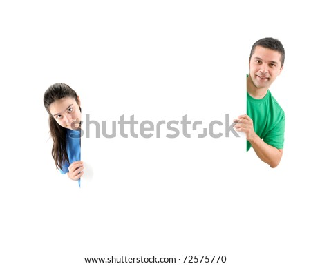 Father and daughter behind a blank board for your text isolated - a series of BLANK BOARD images.