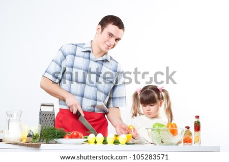 Father and daughter cook together. family pastime - stock photo