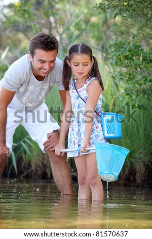 Father and daughter fishing in pond - stock photo