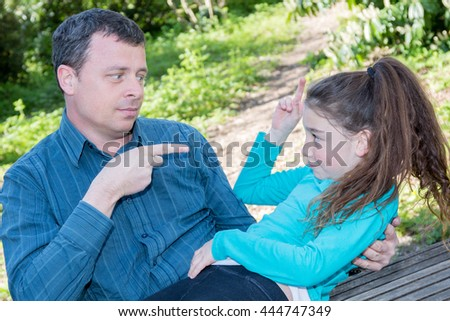 Father and daughter have fun together - stock photo