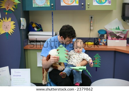 father and daughter in kindergarten