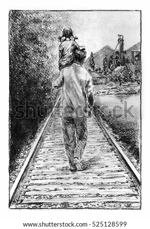 Father and daughter on the railroad. Man and a kid on his shoulder, view from the back, walking railroad. Charcoal on paper.