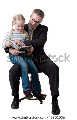 father and daughter read book - stock photo