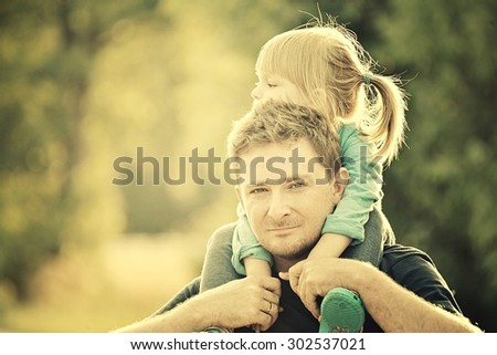 Father and daughter. Vintage Style. - stock photo