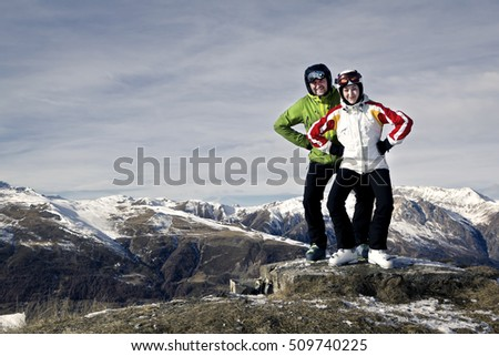 Father and daugther enjoying day off on the mountain