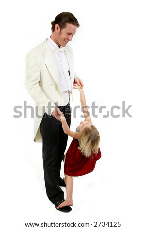 Father and five year old daughter in formal wear