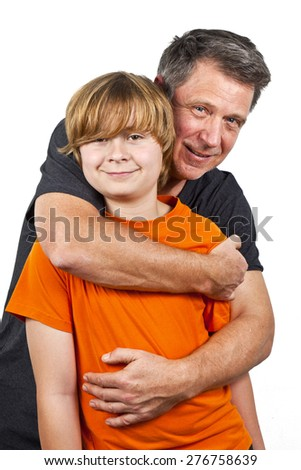 father and happy son hugging, isolated on white - stock photo