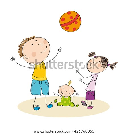 Father and his children playing with ball - original hand drawn illustration - stock photo