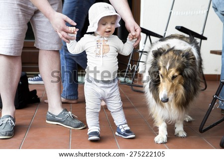 father and his daughter outdoor. Fathers day  - stock photo