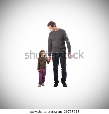 father and his little daughter isolated - stock photo