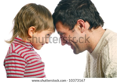 Father and his son on the white background