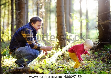 Father and his toddler son walking during the hiking activities in autumn forest at sunset