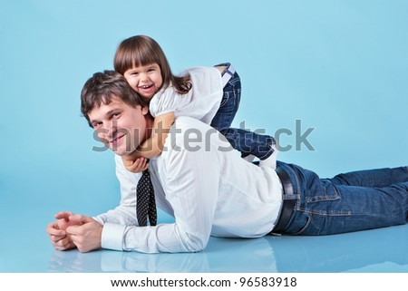 Father and little daughter - stock photo