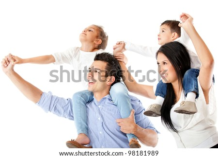 Father and mother carrying children in shoulders - isolated over a white background - stock photo