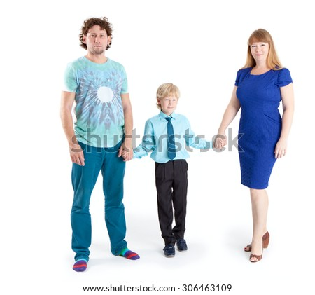 Father and mother with son a schooler looking at camera, isolated on white background - stock photo