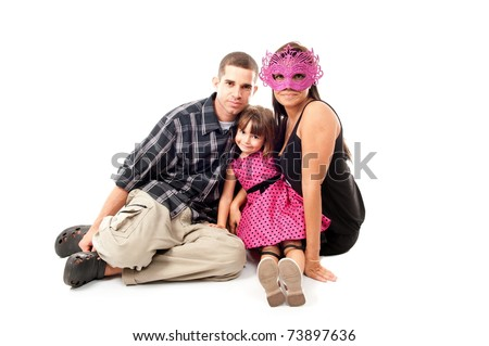 Father and Mother without smile and happy daughter
