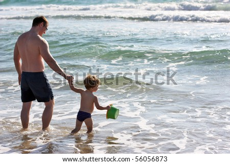 Father and son at sea